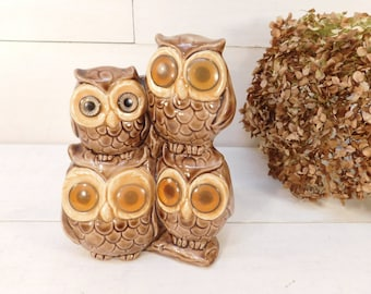 Retro 1970's Ceramic Owl, Hoot Owl, Four Wise Owls, Big Eye Owl