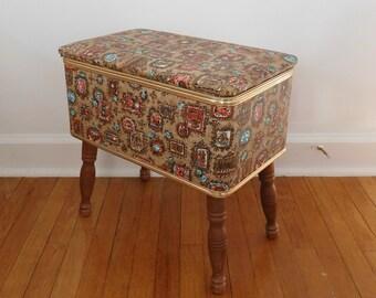Vintage sewing box stand Burlington rattan like exterior