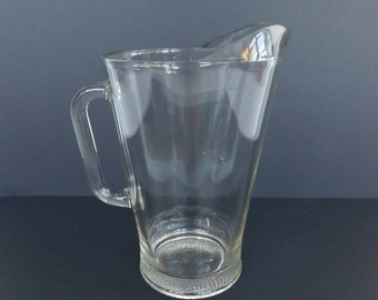 Vintage Heavy Clear Glass Beer Pitcher, Mancave, Bar Pitcher, Beer Serving Pitcher