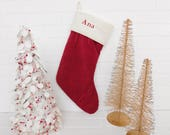 Vintage Embroidery ANA Christmas Stocking, Christmas Pottery Barn Stocking, Holiday Decor