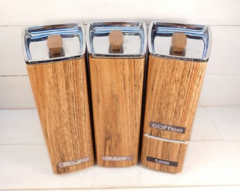 Mid Century Lincoln Beautyware Wood Canister Set, Kitchen Storage, Metal Stacking Canisters