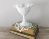 Vintage Fenton Silver Crest Spanish Lace Pedestal Bowl - Cottage - Candy Dish - Farmhouse - Fenton Silver Crest Bowl