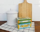 Vintage Yellow Blue Orange Flower Tin Recipe Box, Retro Kitchen, Metal Recipe Storage Box, Flowered Recipe Box