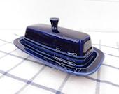 Vintage Cobalt Blue Fiesta Covered Butter Dish - Cobalt Blue Fiestaware - Homer Laughlin Fiesta