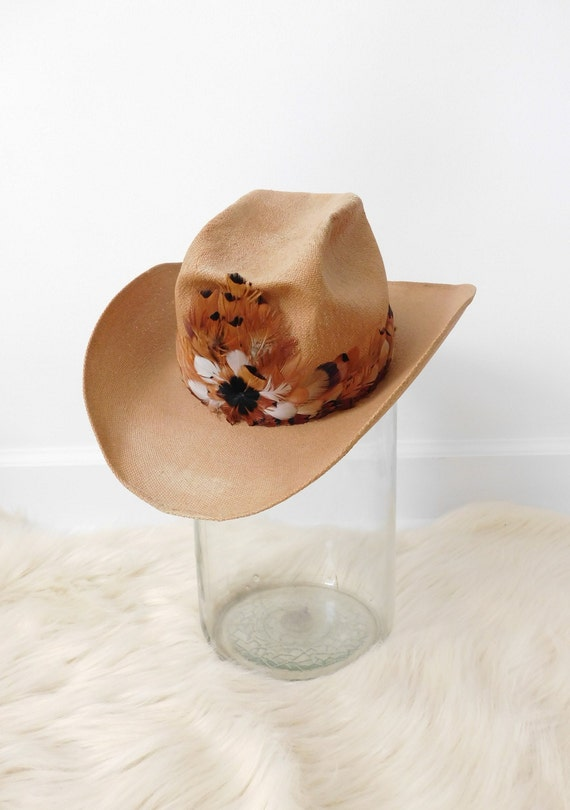 Vintage Stetson Saddle Roll Feather Cowboy Hat - S