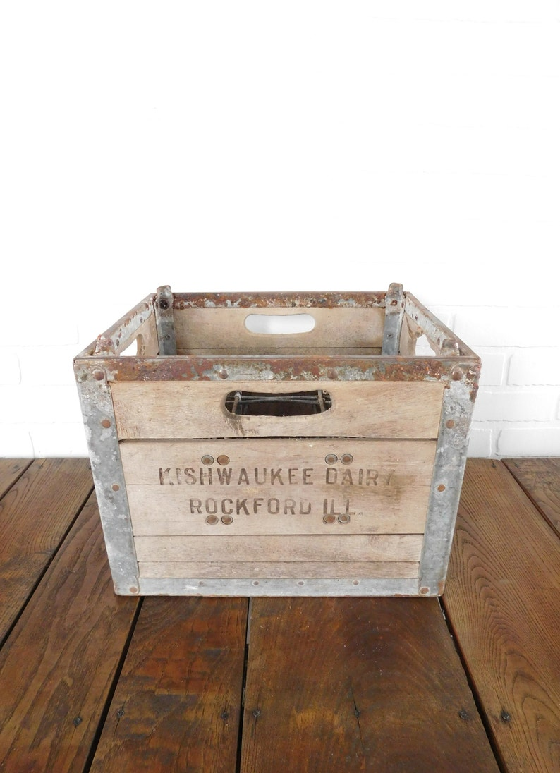 Vintage Wood Metal Divider Milk Crate Farmhouse Decor Primitive Wood Box Wood Crate Kishwaukee Dairy