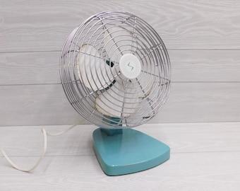 Mid Century Superior Electric Aqua Blue Electric Fan - Table Top Fan - Blue Electric Fan