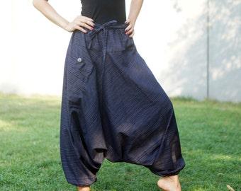 Dark Blue Harem Pants Aladdin Pants Harem Trousers Yoga Pants Cotton Afghani Pants Ali baba Pants Hammered Men Woma BR905