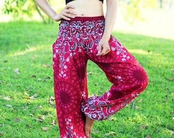 Red Bohemian Pants /Harem Pants /Hippie Pants /Yoga Pants /Meditation Pants /Music Festival Clothing Aubergine NF83079
