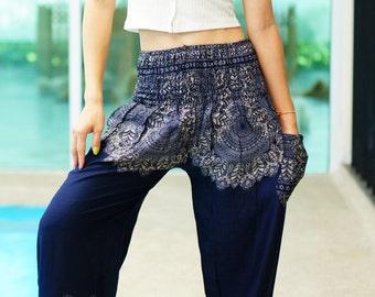 Bohemian Pants /Harem Pants /Music Festival Clothing /Hippie Pants /Yoga Pants /Meditation Pants /Music Festival Clothing Blue BZ12289