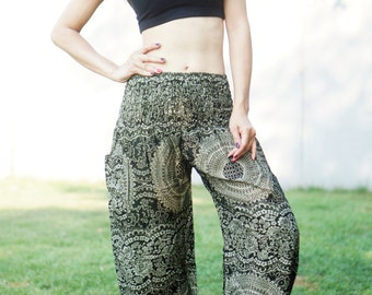 Flower Print Aladdin Pants, Aztec Ethnic Print , Boho Strenchy Pants, Elastic Waist Clothing Beach Women Baggy Casual GH5609