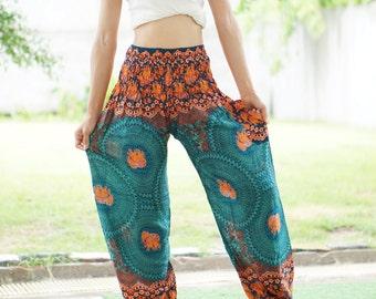 Bohemian Pants /Harem Pants /Music Festival Clothing /Hippie Pants /Yoga Pants /Meditation Pants /Music Festival Clothing Turquoise CF022