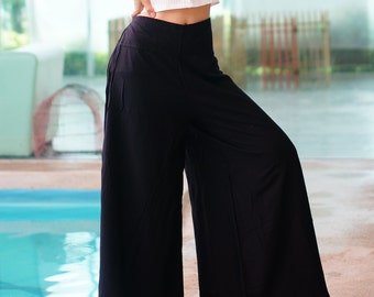Palazzo Pants Style,Wide Leg , Rayon Pants, Boho Strenchy Pants,Elastic Waist Clothing Beach Women Trousers Black Solid Color PZ619