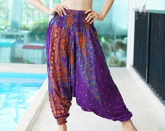Geometric Mandalas Thai Harem Pants,Rayon Pants,Boho Strenchy Pants,Elastic Waist Clothing Beach Women Baggy Casual T0508819