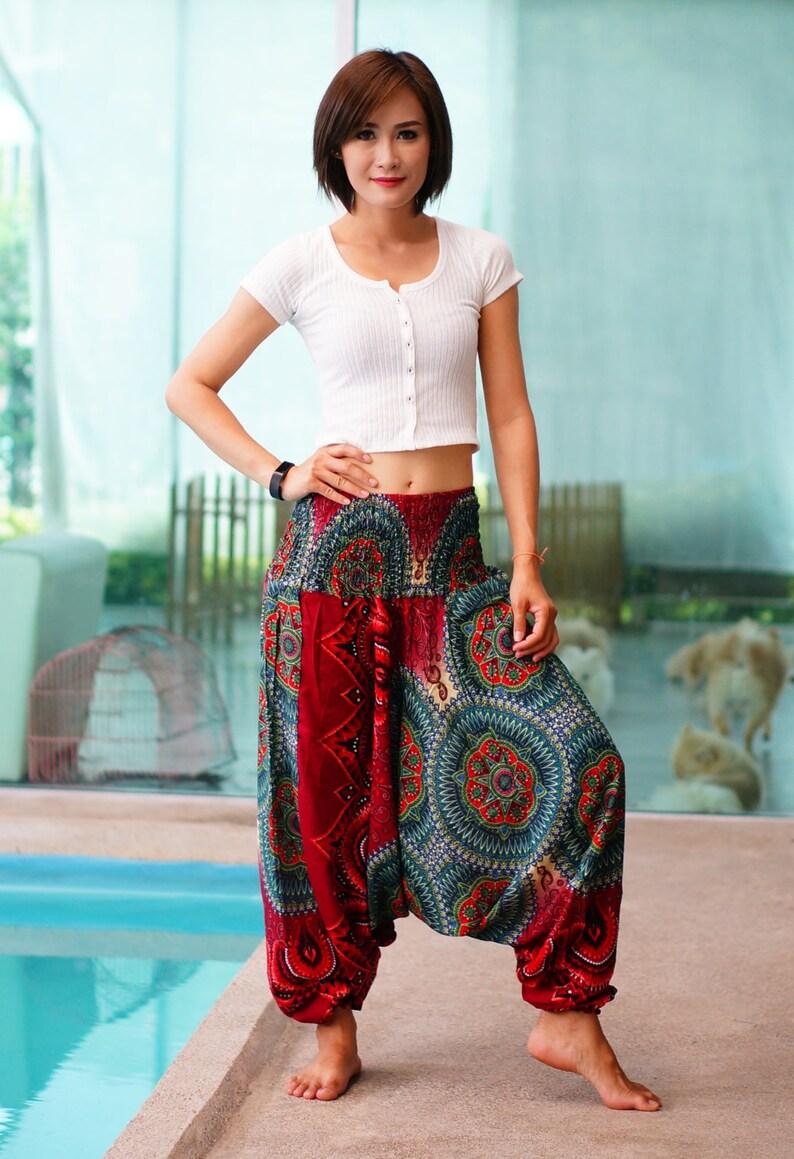 Nieuwe Harem broek Rayon broek, Boho mandala's broeken, elastische taille kleding strand Yoga vrouwen Baggy Casual rood NG75599
