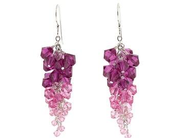 Pink Swarovski Crystal Ombré Cluster Earrings
