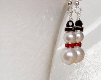 Swarovksi Crystal Snowmen Earrings, Winter Earrings, Christmas Earrings, Holiday Earrings