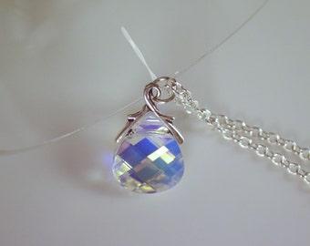 Swarovski Crystal Aurora Borealis Briolette Pendant Necklace, Swarovski Crystal, Crystal Necklace, Gifts for Her,