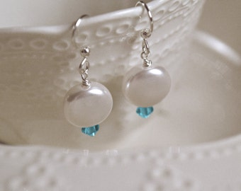 Swarovski Coin Pearl and Crystal Turquoise Oceanic Earrings, Bridal, Beach Bridal