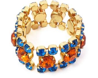 Harlequin Market Crystal Cuff - Topaz + Capri Blue