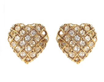 Vintage Gold Tone and Crystal Heart Earrings c. 1980's