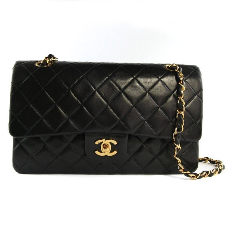887e1baebb9 Chanel Vintage Black Leather Double Flap Classic 10 Bag   Etsy