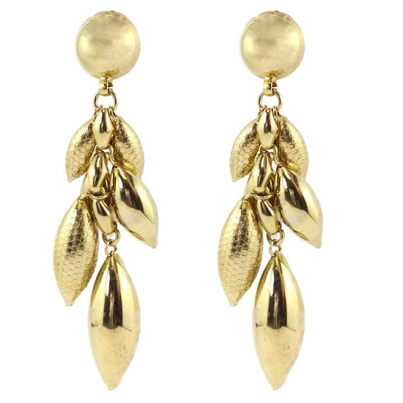 Vintage Boho Gold Tone Tassel Bell Drop Earrings c