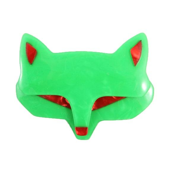 Lea Stein Goupil Fox Head Brooch Black With Red Eyes /& Ears