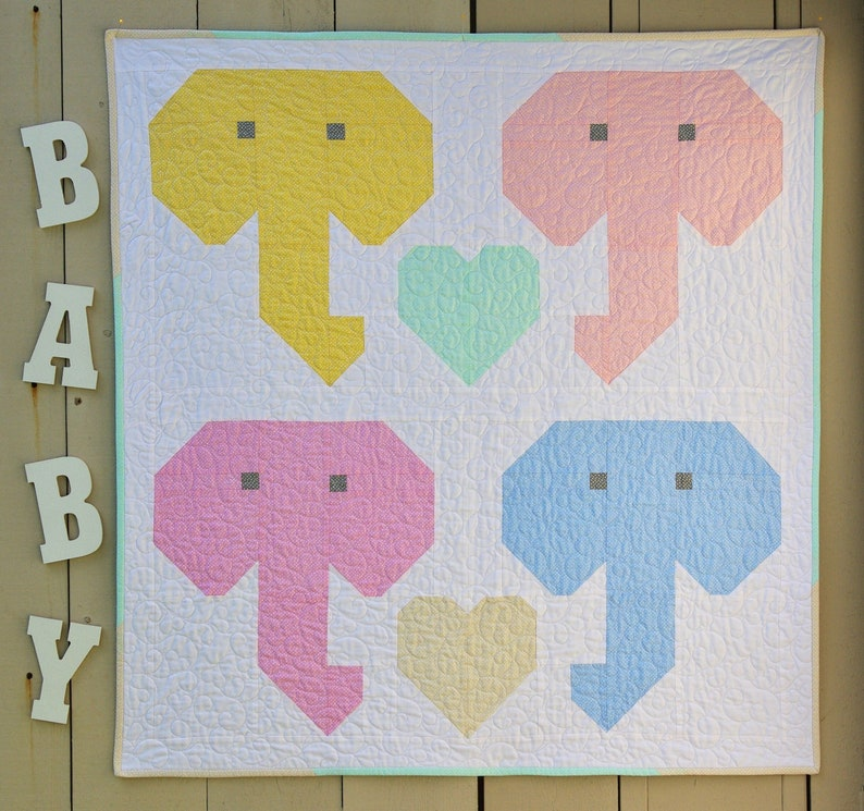 Lovable Elephants Baby Quilt PDF Pattern image 1