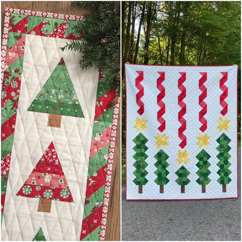 HOLIDAY BUNDLE  Wee Three Trees Mini Quilt and Scrappy image 1