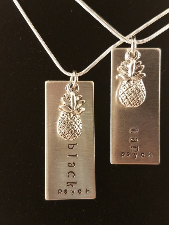 C/'Mon Son Hand Stamped Psych Aluminum Necklace with Pineapple Charm Handmade