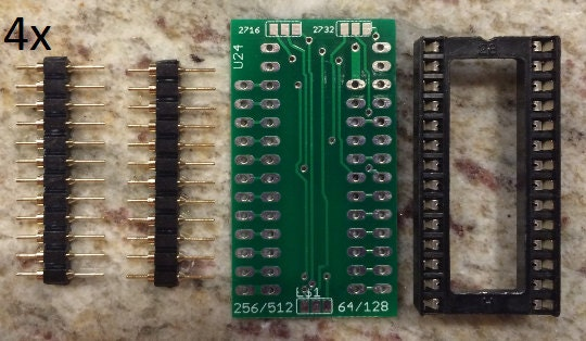 4 x 24U universal 27512/27256 to 24 pin (2708/2516/2716/2732) EPROM  replacement)