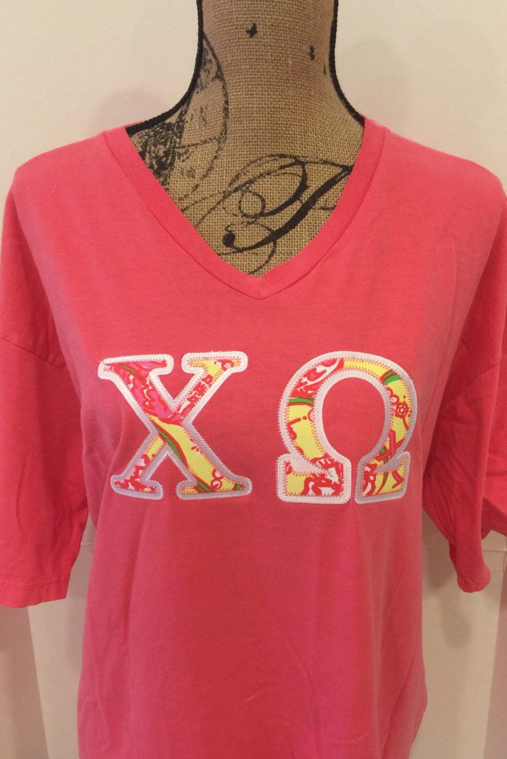 CHI OMEGA specialty Lilly Pulitzer fabric V-neck T by | Etsy