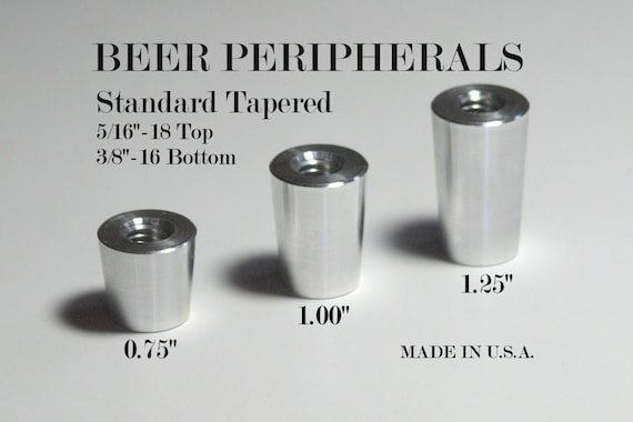 Tapered Beer Tap Handle Ferrule Chrome Aluminum 5 16 18 Etsy