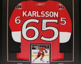 d0b7f88e1be Erik Karlsson Ottawa Senators NHL hockey signed jersey frame