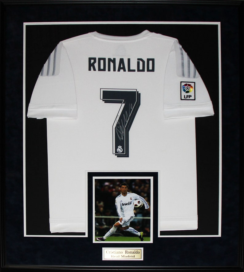 sale retailer 4533e d52c6 Cristiano Ronaldo Real Madrid FC Signed Soccer Football Jersey Collector  Frame