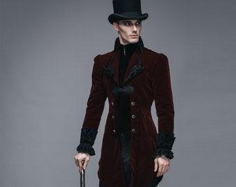 Men's Formal Jacket Tuxedo Coat ~ Black or Burgundy ~ Victorian, Tailcoat~ Velvet Winter Jacket, Gift, Groom's Tux Tuxedo ~ Big & Tall