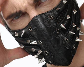 Face Mask ~ Unisex Men's Women's ~ Vegan Leather ~ Cosplay, Role Play, Dominatrix, Dress Up, Costume, Biker  Halloween Costume