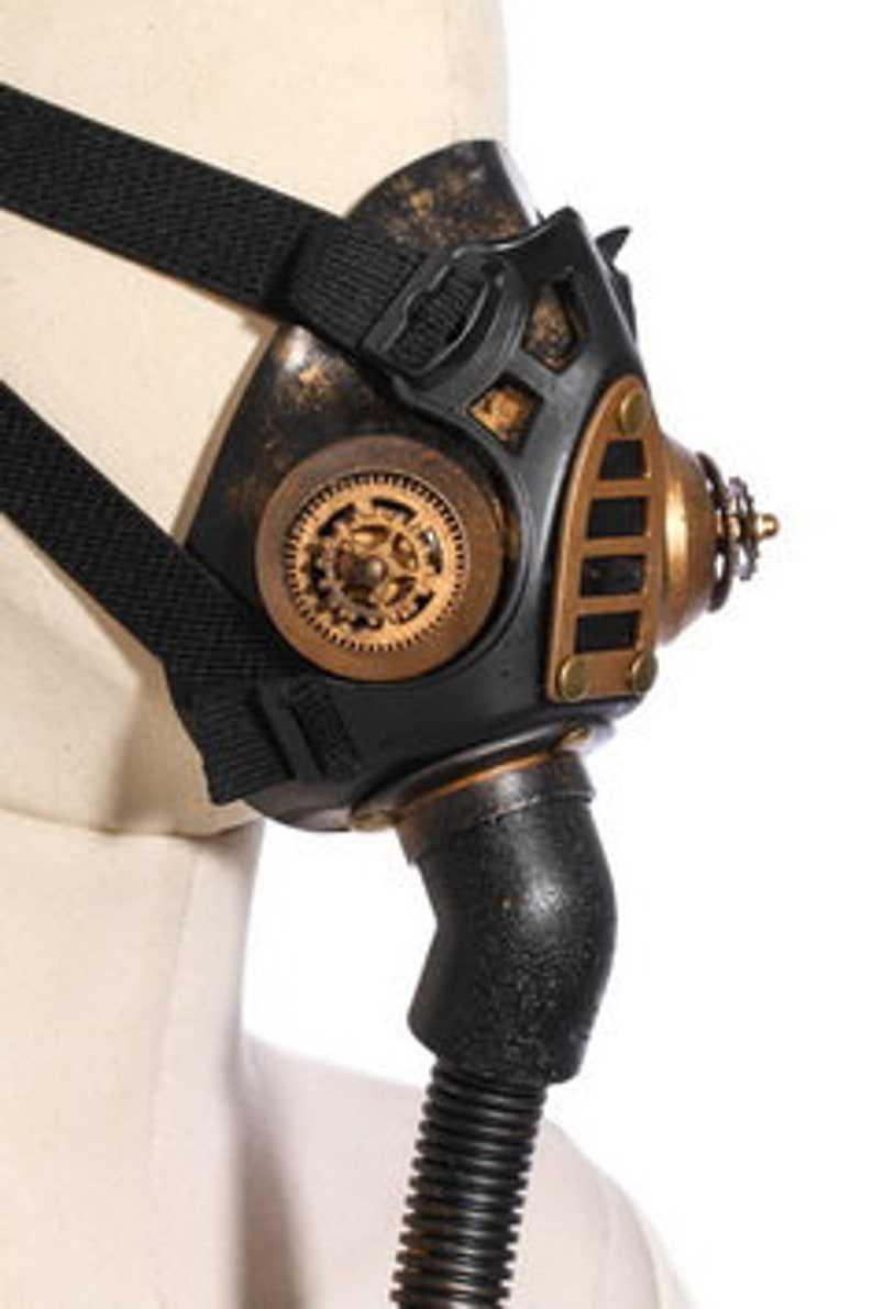 Vintage Style Steampunk Gas Mask ~ Masquerade Ball ~ Face Mask with Hose ~ Attaches to Arm