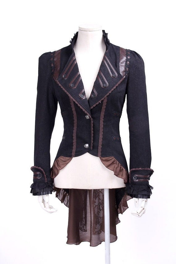 Victorian Jacket With Tailcoat Ruffles Steampunk Military Gothic Coat Frock Lace and Vegan Leather Trim