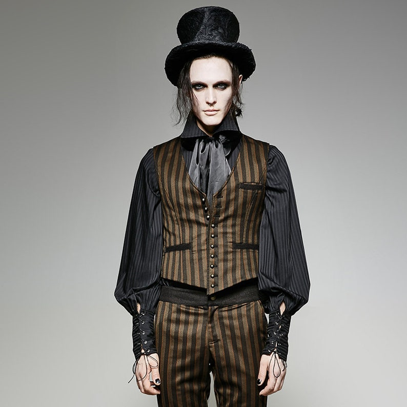 Men's Steampunk Vests, Waistcoats, Corsets Chocolate Brown Striped Waistcoat ~ Mens Vest ~ Steampunk Mad Hatter Larp Cosplay Role Play Junior Plus Size Big and Tall  AT vintagedancer.com