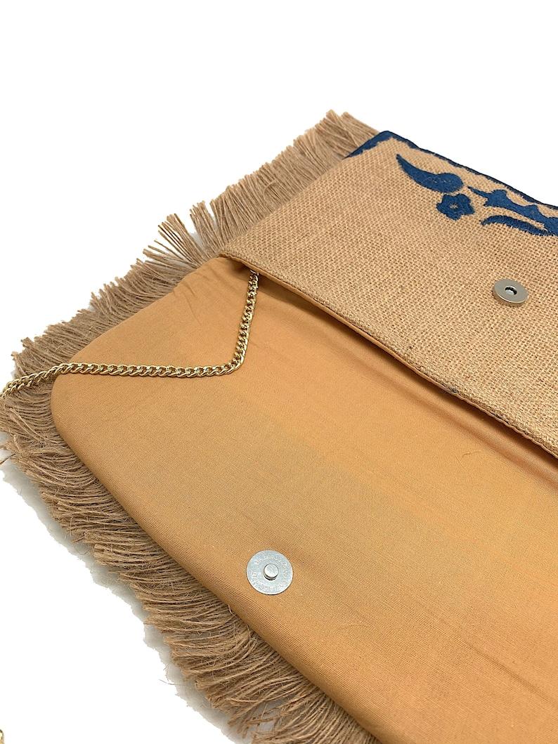 Tan and Blue Handbag ~ Fringe Trim Clutch ~ Unique Purse