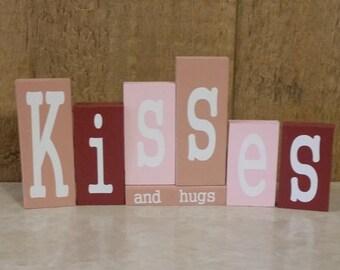 Kisses and Hugs Wood Blocks
