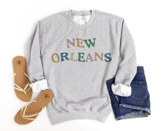 New Orleans Warp Sweatshirt, New Orleans Sweatshirt, New Orleans Sweater, Trip Sweater, City Sweater, Travel Outfit Gift, New Orleans Gift