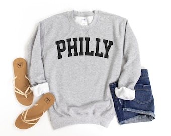 Philly Sweatshirt, Collegiate Text, Philadelphia Sweatshirt, Philly PA Crewneck Sweater, University State Inspired
