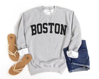 Boston Sweatshirt, Collegiate Text, Massachusetts Sweatshirt, Boston MA Crewneck Sweater, University State Inspired
