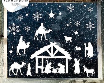Krippen Fensterbild Weihnachten Krippe Mit