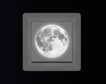 Light Sticker Mini Moon 5cm Fluorescent Wall Stickers Starry Sky Nursery Light Switch, Gift