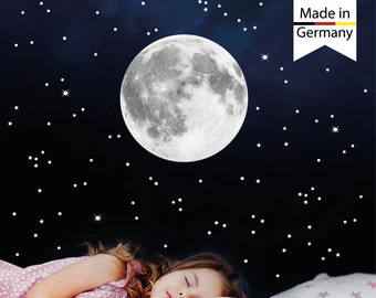 Light moon and 350 pcs fluorescent stars and dots glow in the dark, wall decal wall sticker nursery