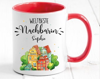 Cup printed world's best neighbor with wish name, gift birthday coffee cup coffee mug, Christmas gift